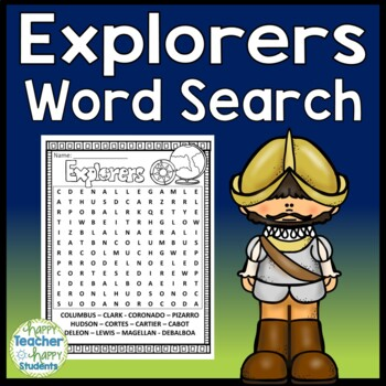 Explorers Word Search -  Columbus, Hudson, deLeon, Magell
