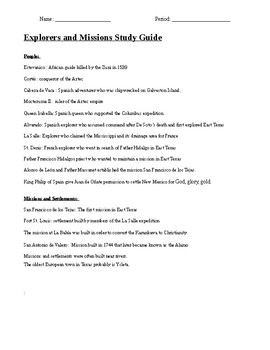 Explorers and Missions study guide.