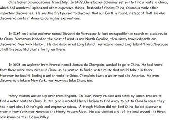 Explorers in America-Columbus, Hudson, Verrazano, Champlain-Sheets and Passages