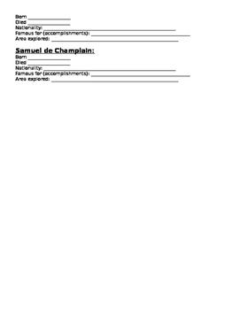 Explorers information sheet
