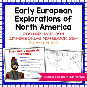 Explorers of North America Poster, Map, and Interactive Notebook INB Set
