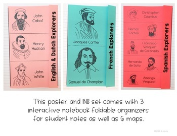 Explorers of North America Poster Map and Interactive Notebook INB Set