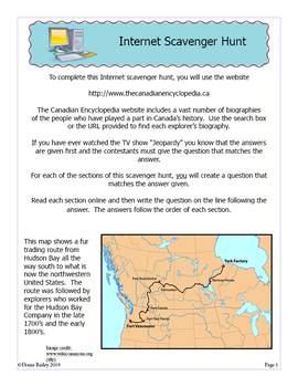 Exploration Canada Webquest Online Scavenger Hunt Activities