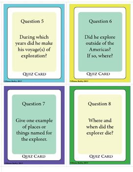 Exploration Explorer Task and Quiz Cards