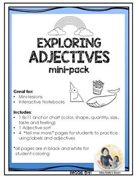 Exploring Adjectives Mini-Lessons, Interactive Notebook  L.1.1.F  L.1.5.A