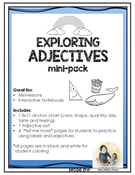 Exploring Adjectives Mini-Lessons, Interactive Notebook  L.1.1.F  L.1.5.A