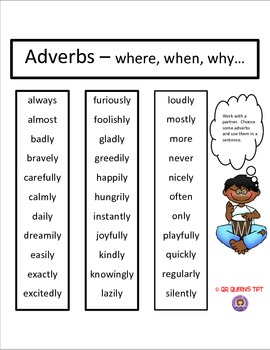 Adverbs using QR Codes Listening Center