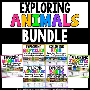 Animals Reading Passages & Comprehension Activities - BUNDLE   Distance Learning