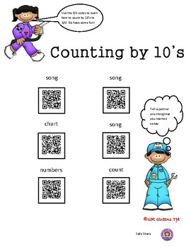 Counting to 100 (by 1's, 2's, 5's, 10's) using QR Codes Bundle Listening Center