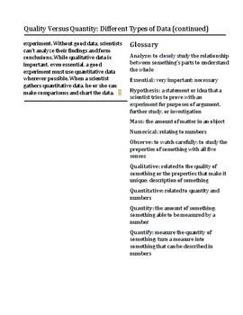 Exploring Data: Qualitative Versus Quantitative Reading Passage and Activities