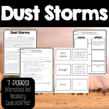 Exploring Dust Storms Passage, Question and Activity Bundle