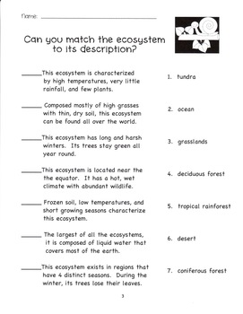 Ecosystems (grades 3, 4 and 5)