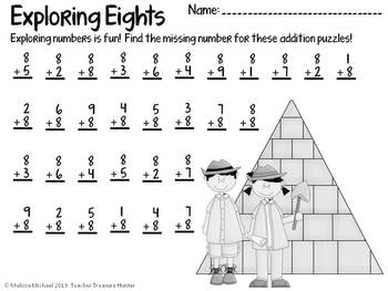 Exploring Eights!  An addition game and flashcards + worksheet