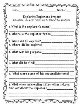 Exploring Explorers Research Project