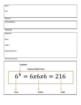 Exploring Exponents Notes