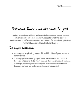 Exploring Extreme Environment Final Project Outline