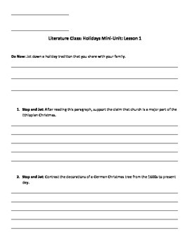 Exploring Holidays Mini-Unit Guidesheets
