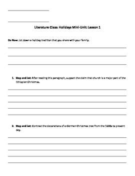 Exploring Holidays Mini-Unit Guidesheets