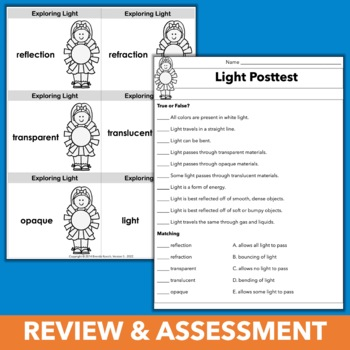 Light Energy Unit: Hands-on Science Stations, Activities, Review & Assessment
