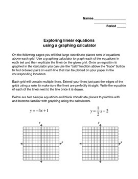 Exploring Linear Equations with a Graphing Calculator