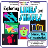 Art Lesson Bundle Kindergarten Exploring Lines and Shapes Math Integrated
