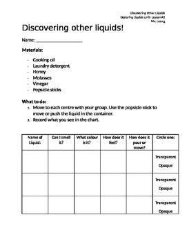 Exploring Liquids Experiment- Discovering Other Liquids