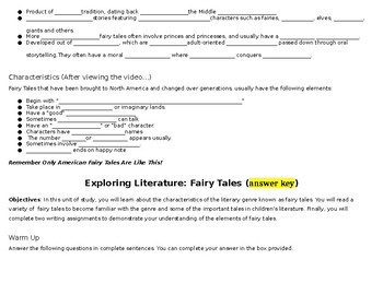 Exploring Literature: Introduction to Fairy Tales (Notesheet)