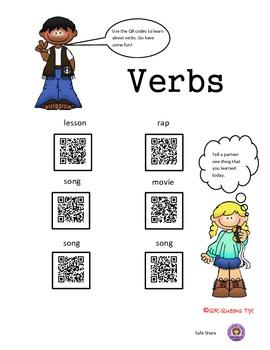 Nouns, Verbs & Adjectives using QR Codes Bundle