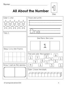 Exploring Numbers 1 to 20 Activity Package