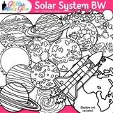 Solar System Clipart: Planets, Earth, Galaxies B&W Clip Art
