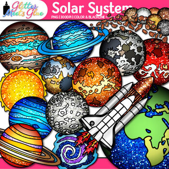 Solar System Clip Art for Science {Planets, Earth, Galaxies, Exoplanets, Space}