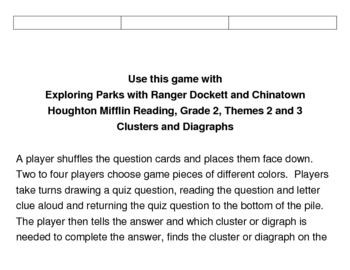 Exploring Parks and Chinatown Spelling Gameboard - Clusters / Digraphs