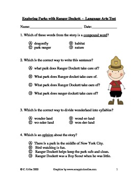 Exploring Parks with Ranger Dockett Language Arts Quiz/Test