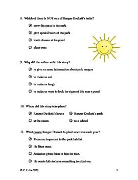 Exploring Parks with Ranger Dockett ~ Reading and Vocabulary Test/Quiz