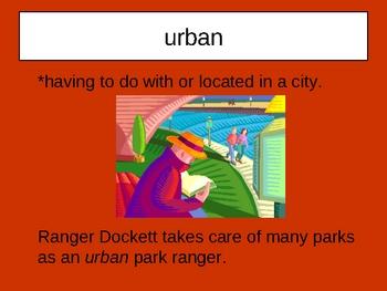 Exploring Parks with Ranger Dockett Vocabulary
