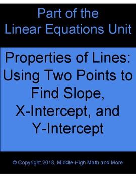 Properties of Lines:  Finding Slope, X-Intercept, and Y-Intercept