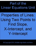 Properties of Lines:  Finding Slope, X-Intercept, and Y-Intercept