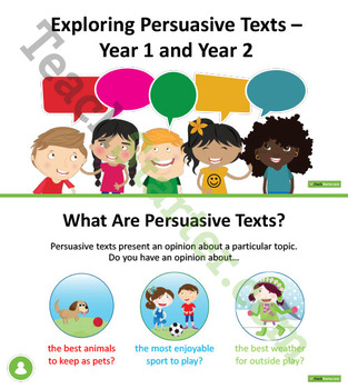 Exploring Persuasive Texts Unit Plan – Year 1 and Year 2
