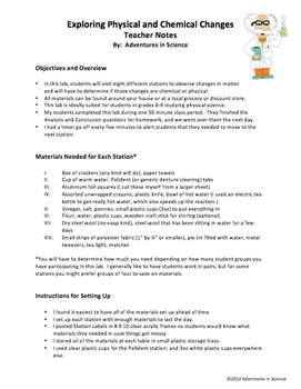 Exploring Physical and Chemical Changes Lab for Grades 6-9  {Editable!}