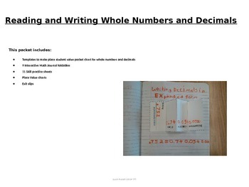 Place Value, Whole Numbers and Decimals Math Intervention