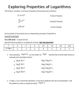 Exploring Properties of Logarithms Activity