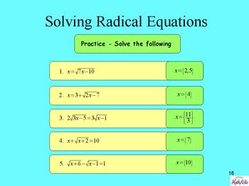 Exploring Radical Equations