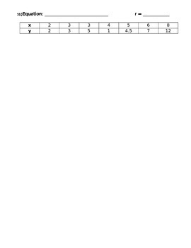 Exploring - Regression Equations Lines - Curves of Best Fit Handout