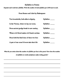 Exploring Rhythm in Poetry Worksheets