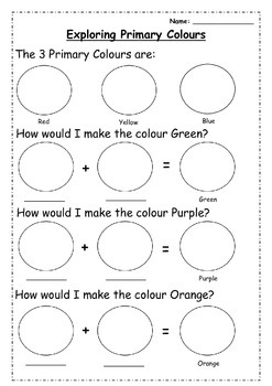 Exploring Primary Colours Worksheet by Miss Bennett Takes ...