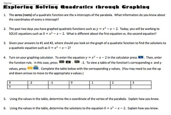 Exploring Solving Quadratic Equations by Graphing