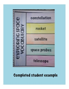 Exploring Space Vocabulary Interactive Science Notebook Foldable