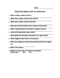 Exploring Space with an Astronaut Comprehension Sheet