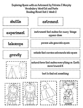 Exploring Space with an Astronaut Vocabulary Word Cut and Paste