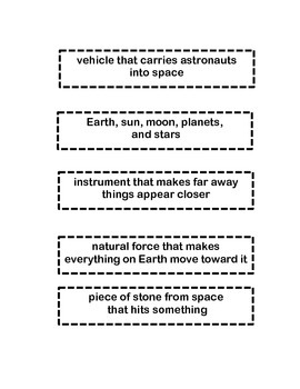 Exploring Space with an Astronaut vocabulary flap book